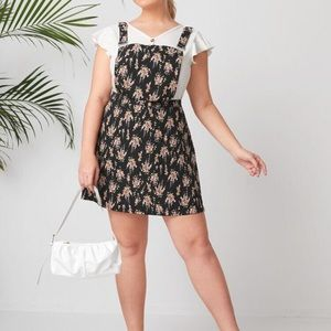 Plus Size Floral Overall Dress